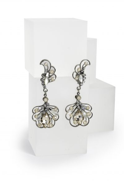 Silver Drop Earrings With Swarovski Crystals by Maria Elena - Image 1