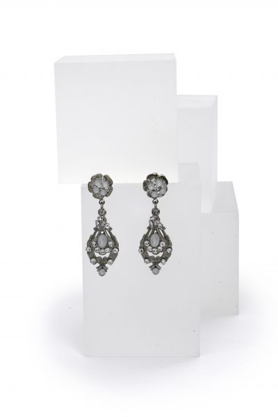 Silver Floral Dropped Earrings With Clear And White Swarovski Crystals by Maria Elena - Image 1