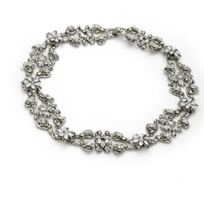 Silver Halo With Clasp With Clear, White, And Gold Swarovski Crystals by Maria Elena