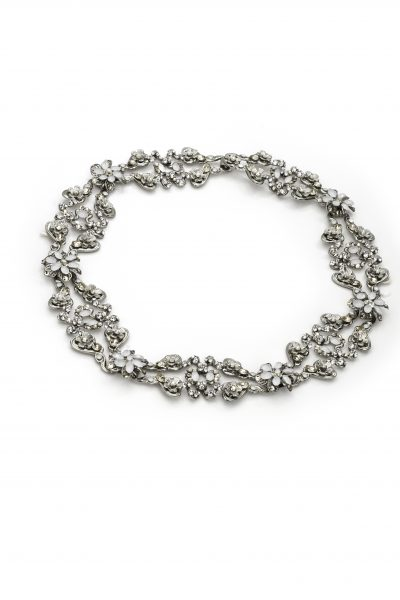 Silver Halo With Clasp With Clear, White, And Gold Swarovski Crystals by Maria Elena - Image 1