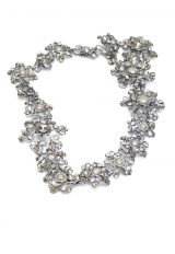 Silver Halo With Clasp With Pearls And Swarovski Crystals And Floral Detailng by Maria Elena - Image 1