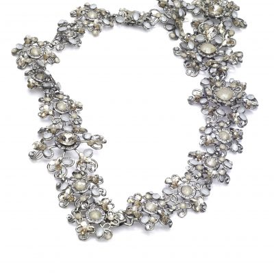 Silver Halo With Clasp With Pearls And Swarovski Crystals And Floral Detailng by Maria Elena