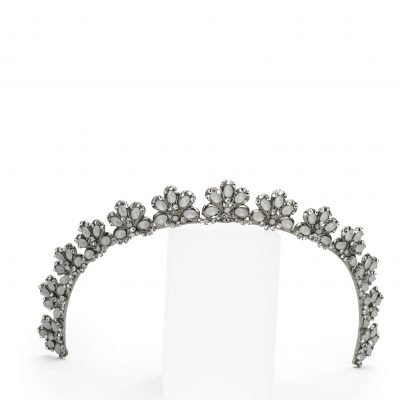 Silver Headband Crown With Detailed Crystals by Maria Elena