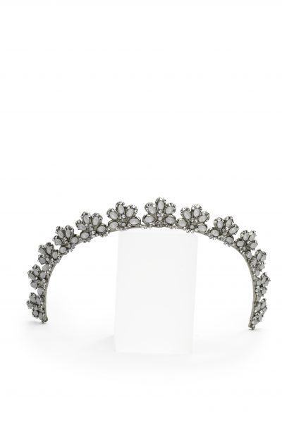 Silver Headband Crown With Detailed Crystals by Maria Elena - Image 1