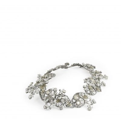 Silver Leaf Motif Halo With Clasp With Pearls And Swarovski Crystals by Maria Elena