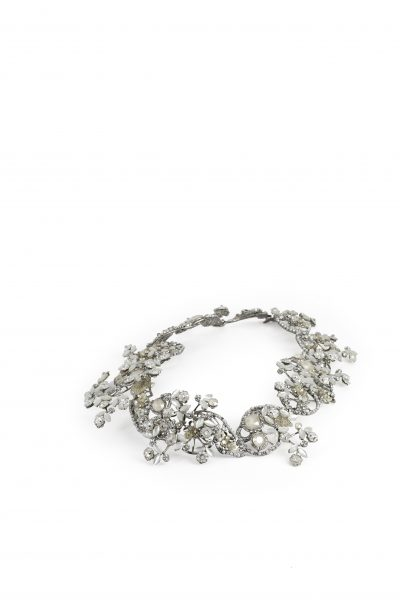 Silver Leaf Motif Halo With Clasp With Pearls And Swarovski Crystals by Maria Elena - Image 1