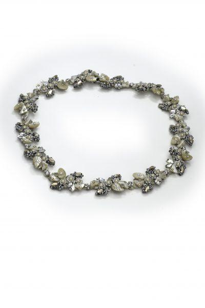 Silver Leaf Pearl Motif With Swarovski Crystals by Maria Elena - Image 1