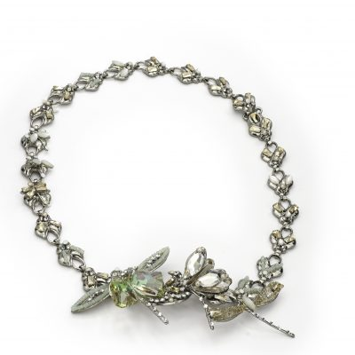 Silver Spring Dragonfly Halo With Swarovski Crystals by Maria Elena