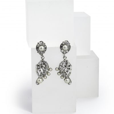 Silver Swarovski Crystal And Pearl Drop Earring by Maria Elena