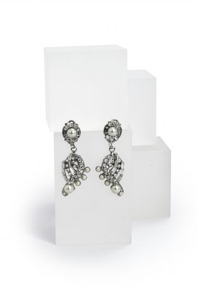 Silver Swarovski Crystal And Pearl Drop Earring by Maria Elena - Image 1