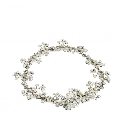 Silver Vine Halo With Clasp With Pearls And Swarovski Crystals by Maria Elena