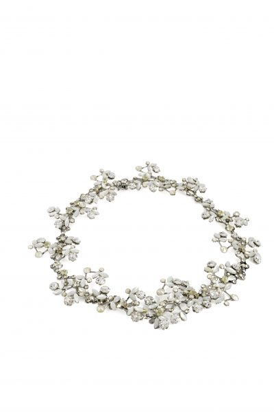 Silver Vine Halo With Clasp With Pearls And Swarovski Crystals by Maria Elena - Image 1