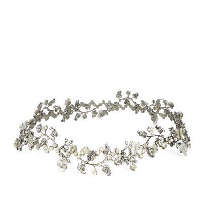 Silver Vine Halo With Pearls And Swarovski Crystals by Maria Elena
