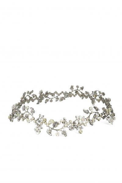 Silver Vine Halo With Pearls And Swarovski Crystals by Maria Elena - Image 1