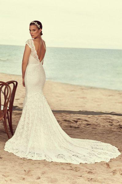 Scalloped V-neck Cap Sleeve Lace Wedding Dress by Mikaella - Image 2