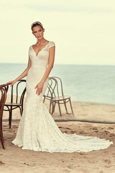 Scalloped V-neck Cap Sleeve Lace Wedding Dress by Mikaella - Image 1
