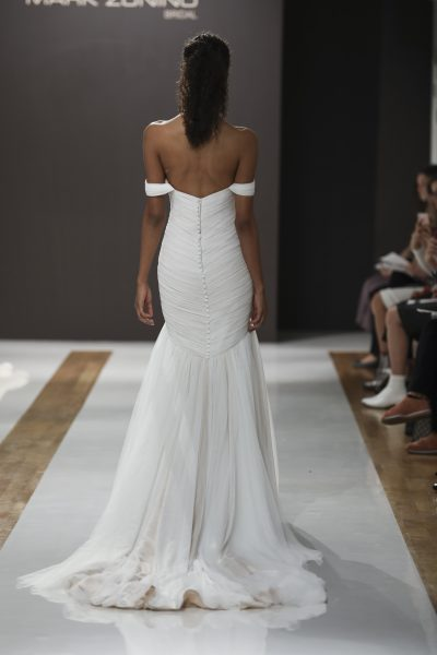 Off The Shoulder Ruched Mermaid Wedding Dress by MZ2 by Mark Zunino - Image 2