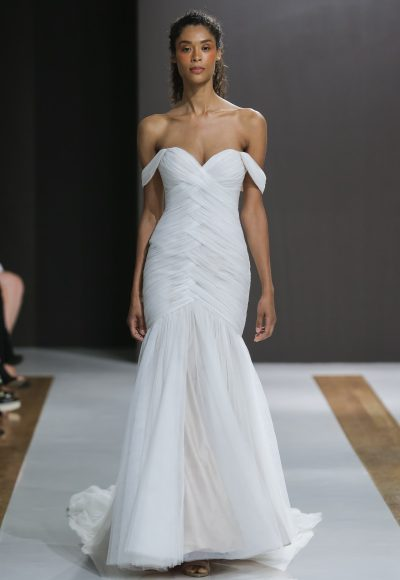 Off The Shoulder Ruched Mermaid Wedding Dress by Mark Zunino