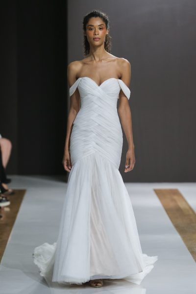 Off The Shoulder Ruched Mermaid Wedding Dress By Mark Zunino Image 1