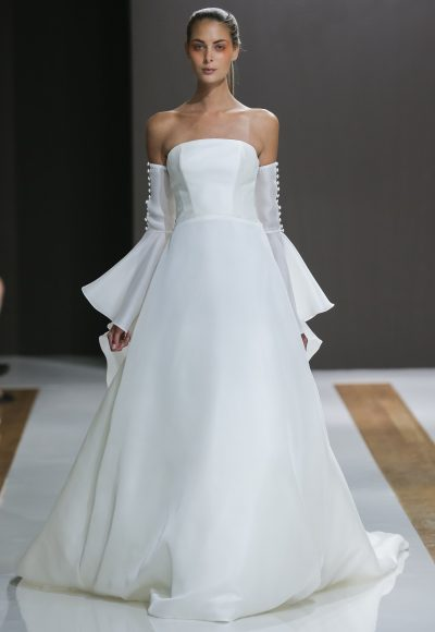 Strapless Natural Waist Ball Gown Wedding Dress by Mark Zunino