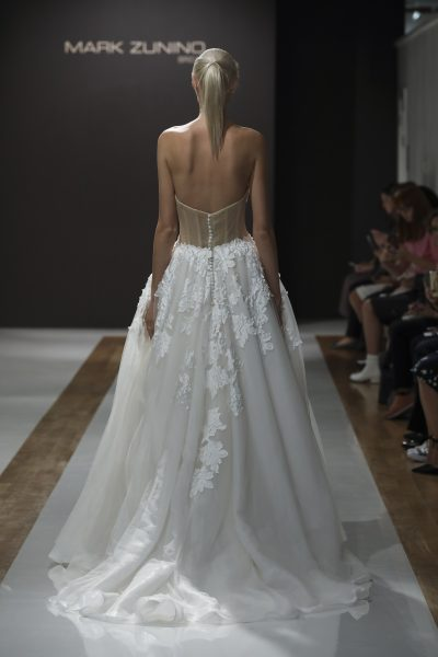 Sweetheart Neckline Floral Applique Strapless Ball Gown Wedding Dress by Mark Zunino - Image 2
