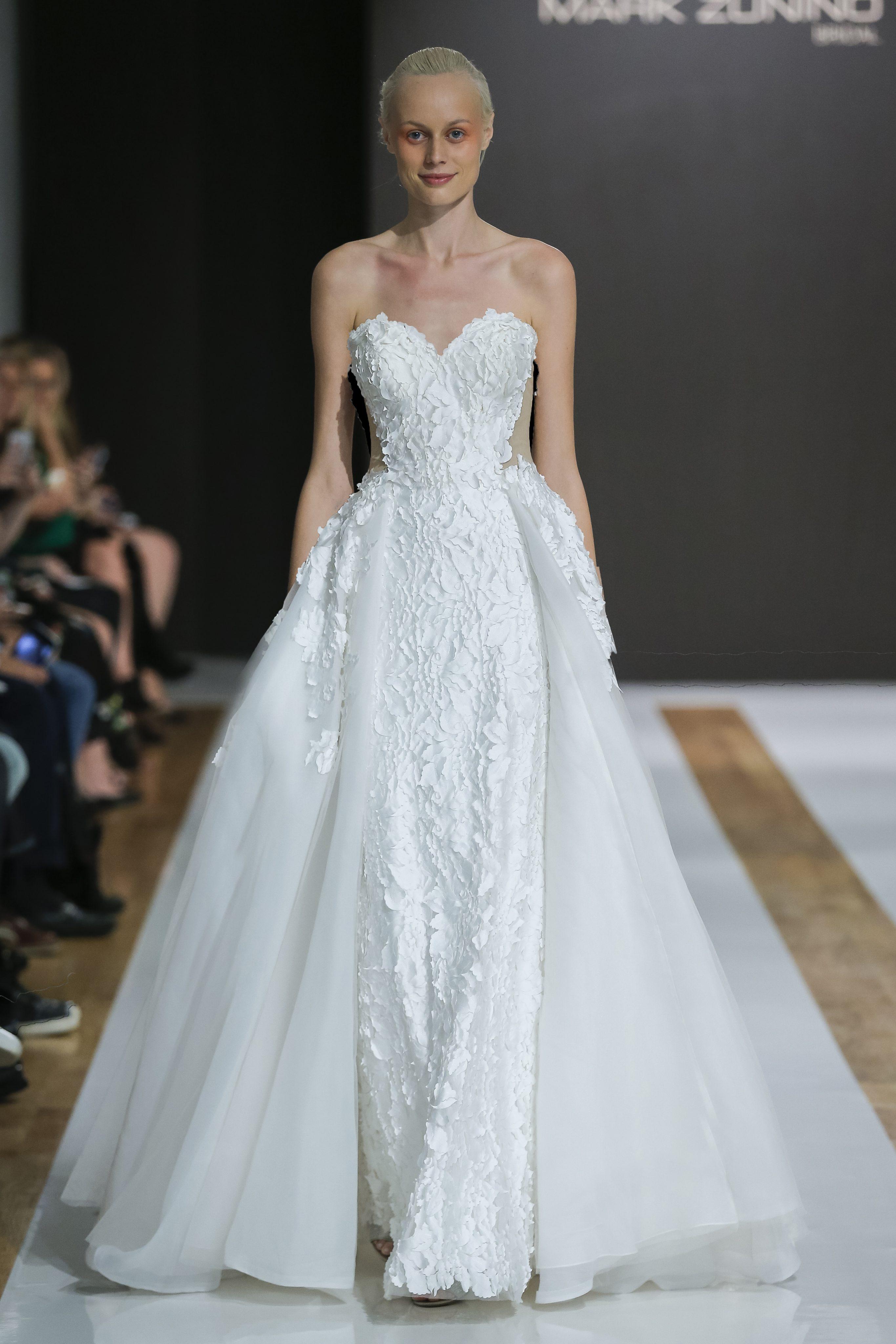 Sweetheart Neckline Floral Applique Strapless Ball Gown Wedding ...