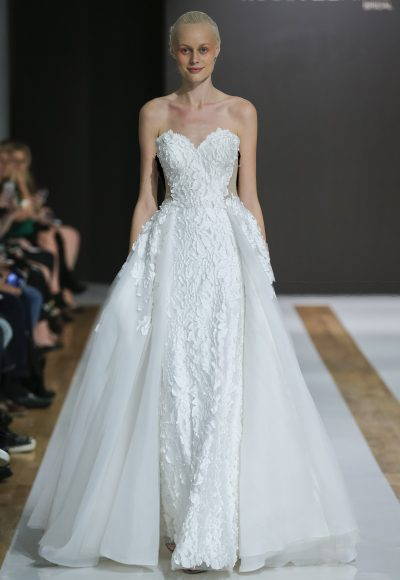 Sweetheart Neckline Floral Applique Strapless Ball Gown Wedding Dress by Mark Zunino