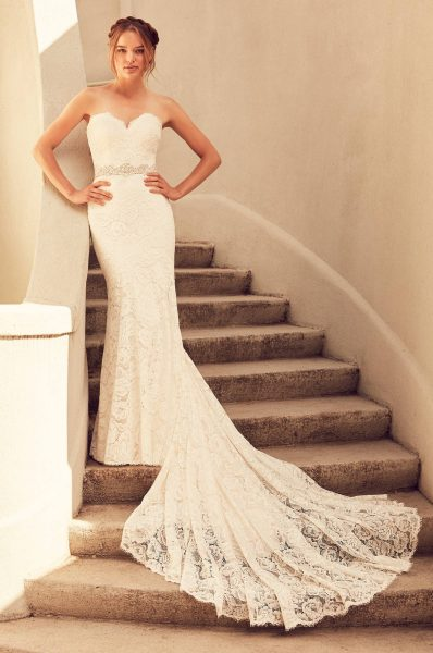Fully Laced Swetheart Neckline Fit And Flare Wedding Dress by Paloma Blanca - Image 1