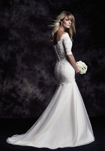Off The Shoulder 3/4 Sleeve Lace Fit And Flare Wedding Dress by Paloma Blanca - Image 2