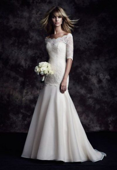 Off The Shoulder 3/4 Sleeve Lace Fit And Flare Wedding Dress by Paloma Blanca