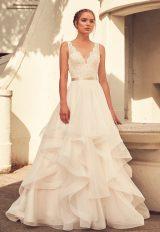 Scalloped V-neck Lace Bodice Tulle Skirt Wedding Dress by Paloma Blanca - Image 1