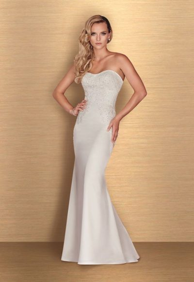 Sweetheart Sstrapless Neck Fit And Flare Wedding Dress by Paloma Blanca