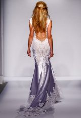 Plunging Neckline Lace And Silk Fit And Flare Wedding Dress by Pnina Tornai - Image 2