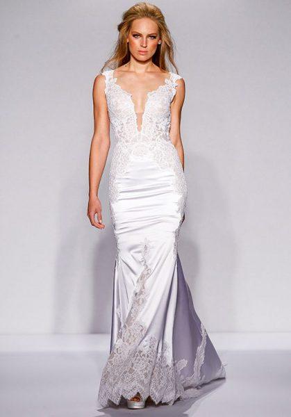 Deep Scalloped V-neck Sleeveless Lace And Silk Wedding Dress by Pnina Tornai - Image 1