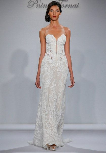 Strapless Deep Sweetheart Neckline Lace Sheath Wedding Dress by Pnina Tornai - Image 1