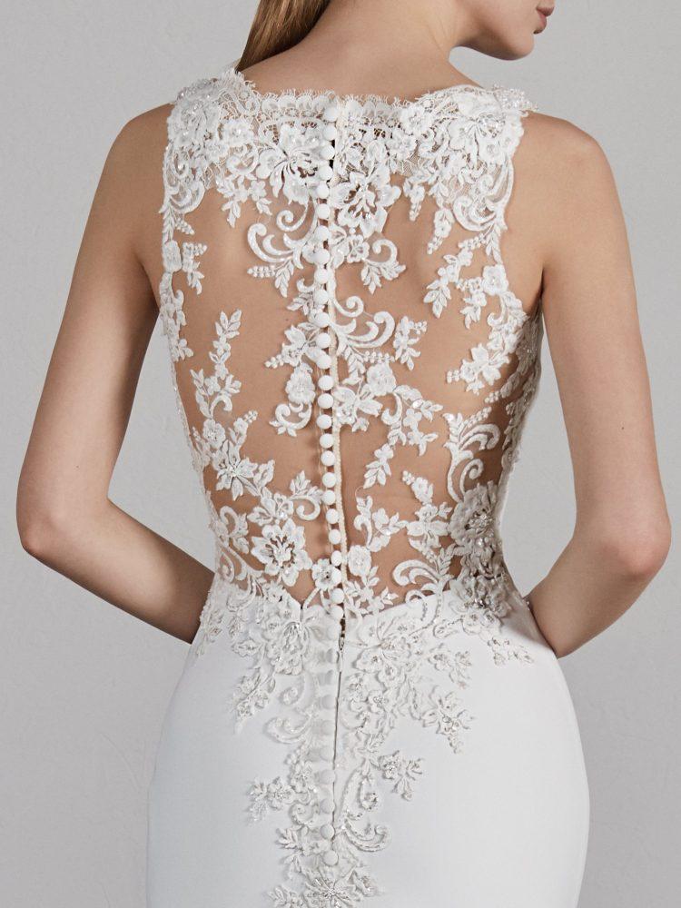 Bateau Neck Sleeveless Illusion Lace Back Mermaid Wedding Dress by Pronovias - Image 2