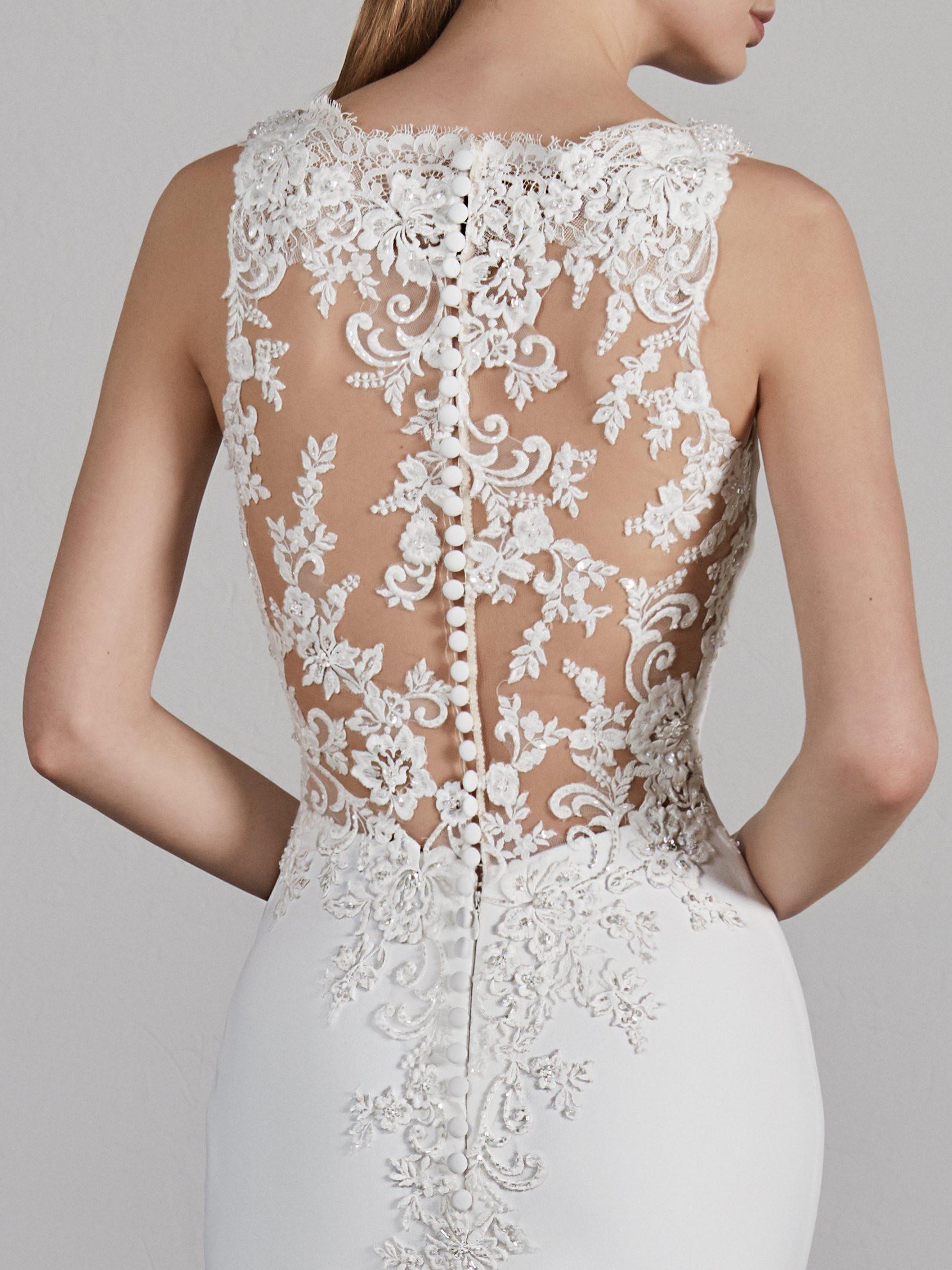 Bateau Neck Sleeveless Illusion Lace Back Mermaid Wedding Dress Kleinfeld Bridal