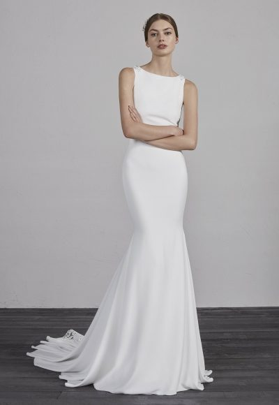 Bateau Neck Sleeveless Illusion Lace Back Mermaid Wedding Dress by Pronovias
