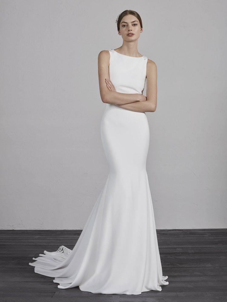 Bateau Neck Sleeveless Illusion Lace Back Mermaid Wedding Dress by Pronovias - Image 1