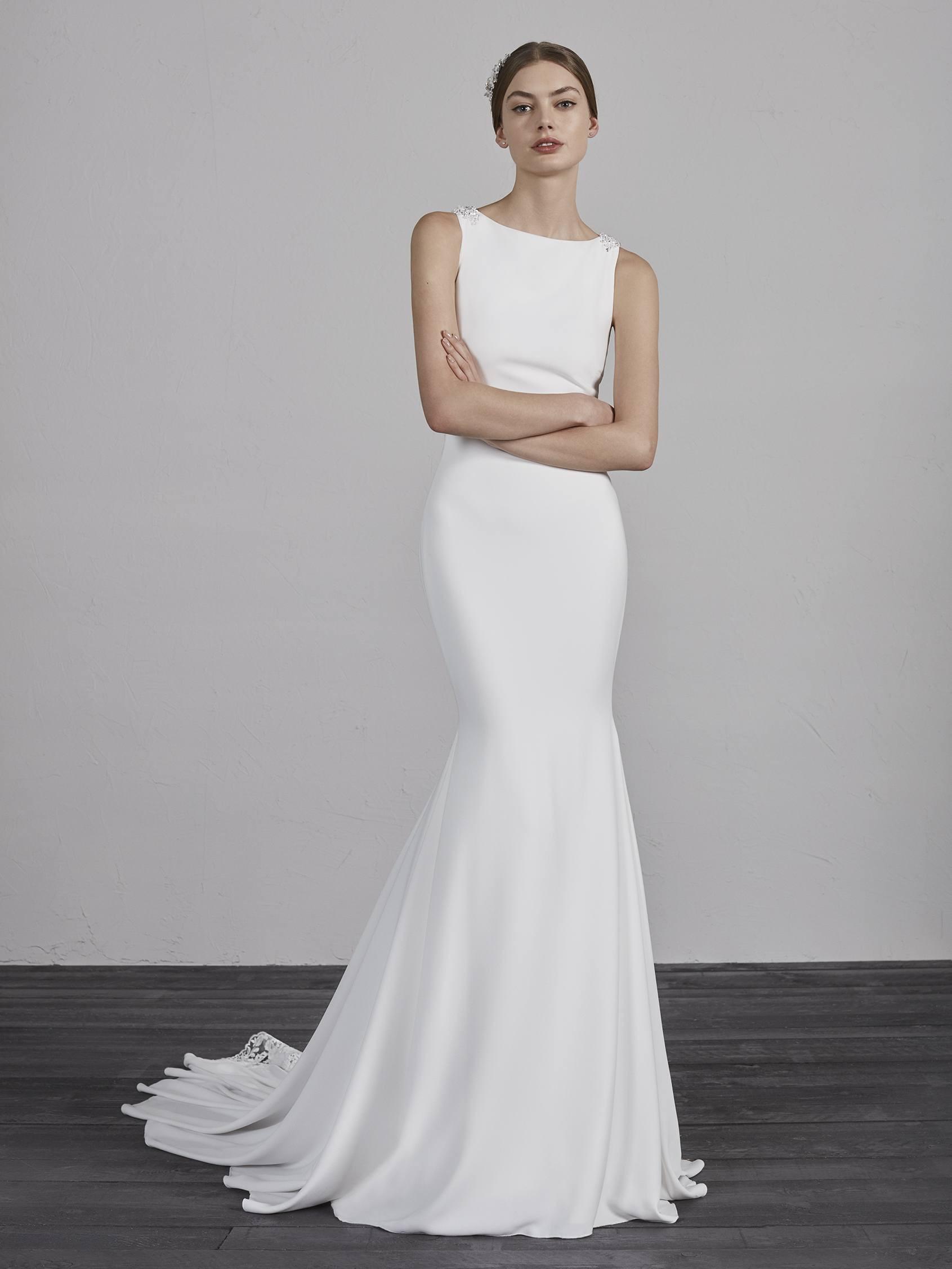 Bateau Neck Sleeveless Illusion Lace Back Mermaid Wedding Dress ...