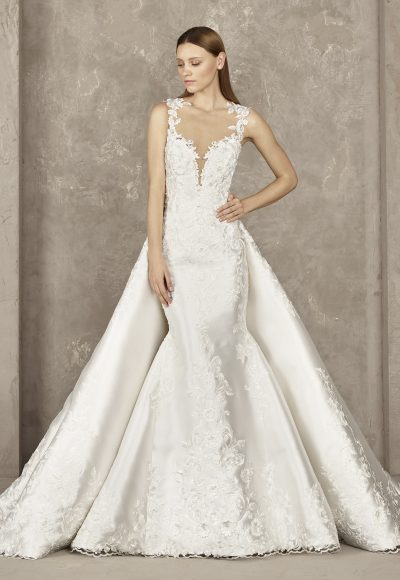 Deep V-neck Lace Bodice Sleeveless Mermaid Wedding Dress by Pronovias