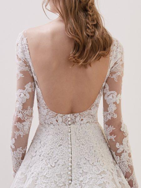 Deep V-neck Long Sleeve Lace A-line Wedding Dress by Pronovias - Image 2