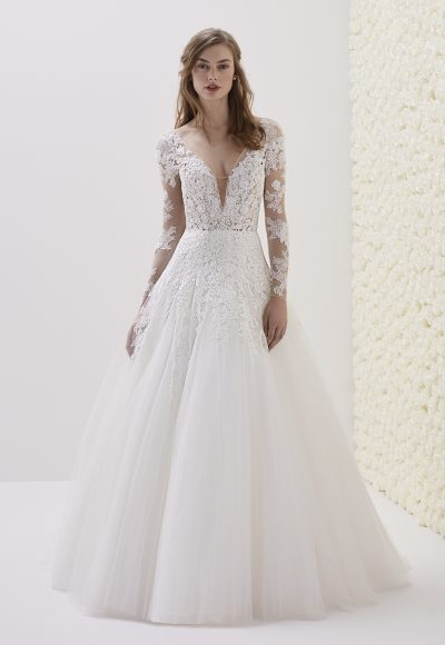Deep V-neck Long Sleeve Lace A-line Wedding Dress by Pronovias