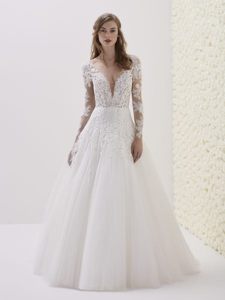 Deep V-neck Long Sleeve Lace A-line Wedding Dress by Pronovias - Image 1