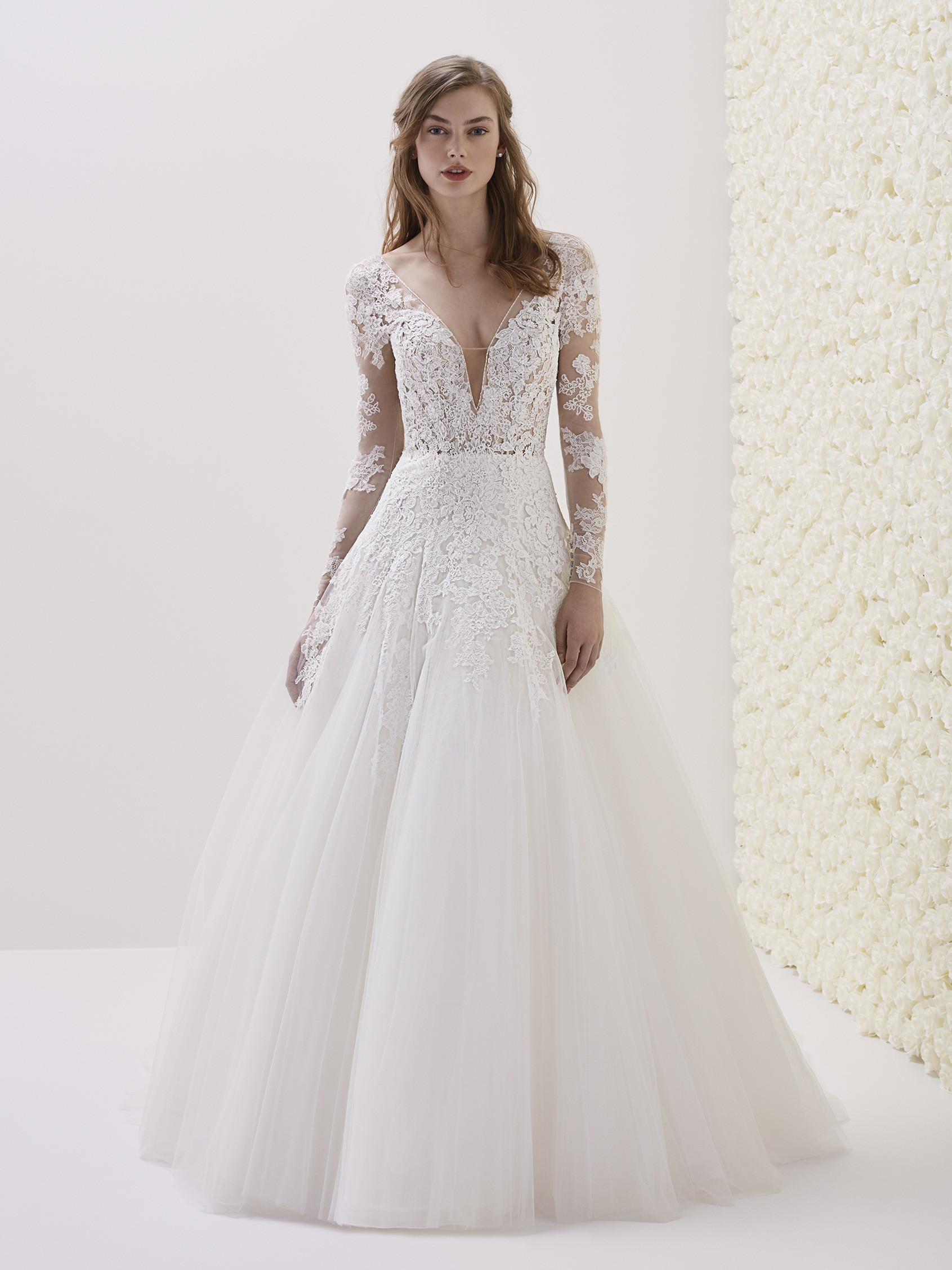 Deep V-neck Long Sleeve Lace A-line Wedding Dress | Kleinfeld Bridal