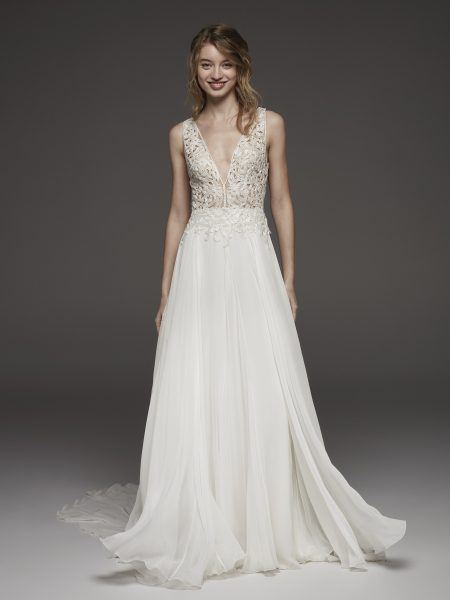 Floral Applique V-neck Bodice A-line Wedding Dress by Pronovias - Image 1