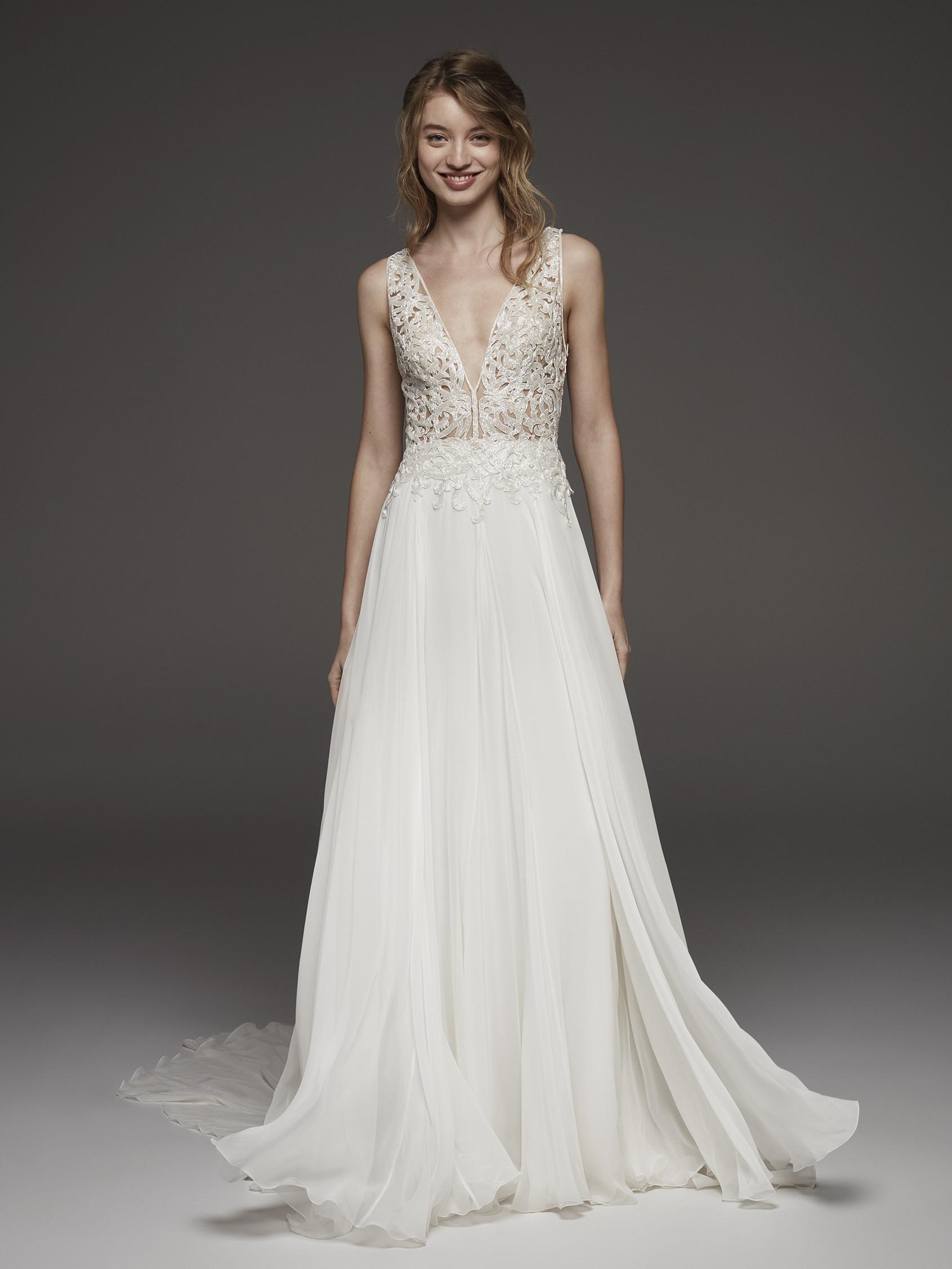 Floral Applique V-neck Bodice A-line Wedding Dress   Kleinfeld Bridal