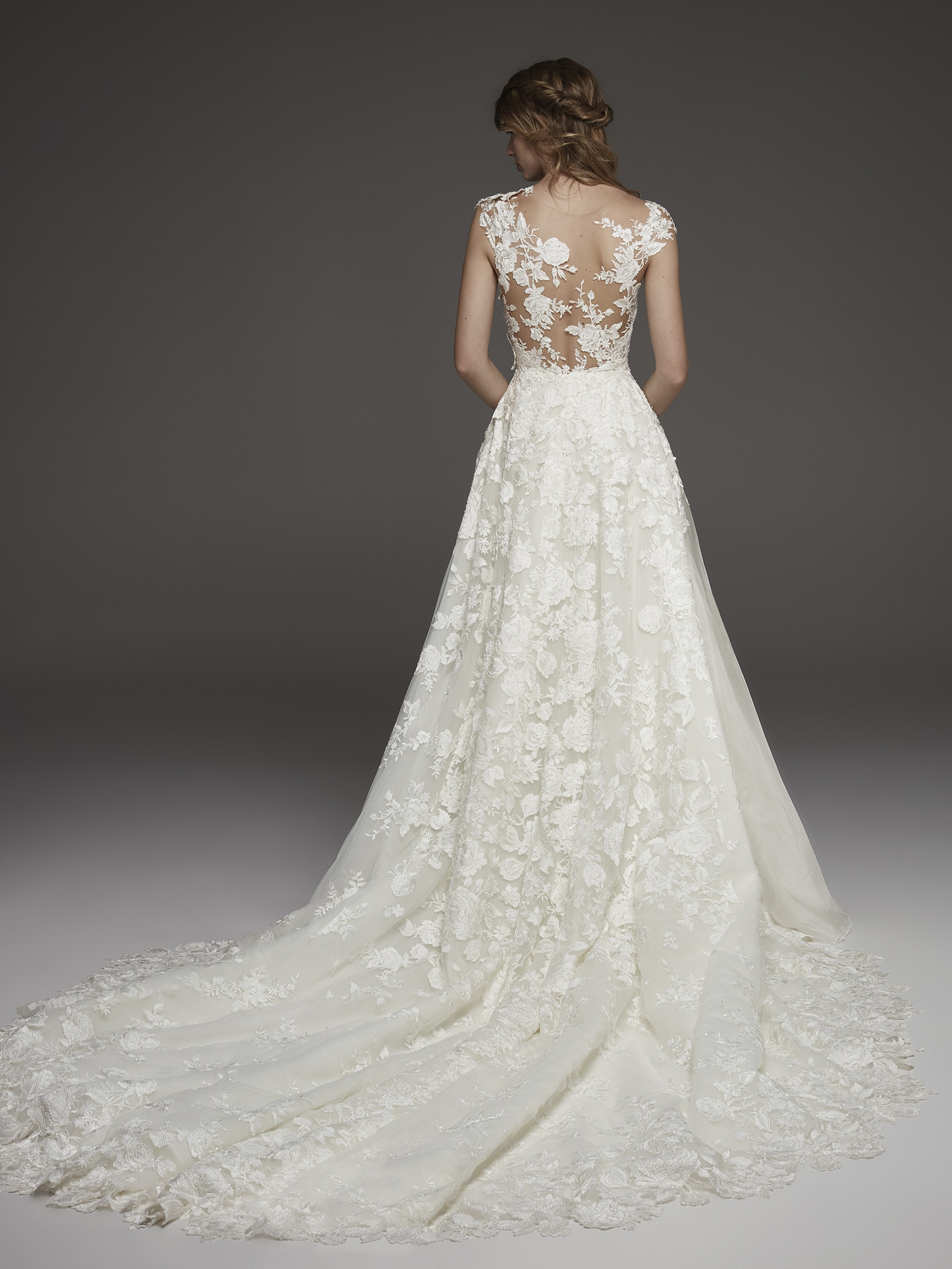722f7c2109c56 Illusion Lace Cap Sleeve A-line Wedding Dress | Kleinfeld Bridal