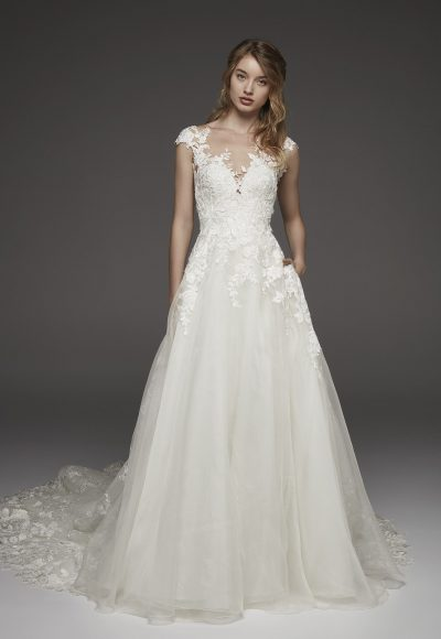 Illusion Lace Cap Sleeve A-line Wedding Dress by Pronovias
