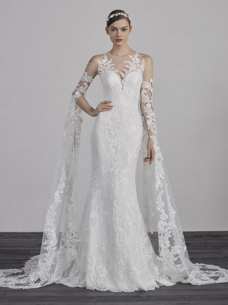 Lace Illusion Sweetheart Neck Cold Shoulder Floor Length Sleeves Mermaid Wedding Dress By Ovias Image